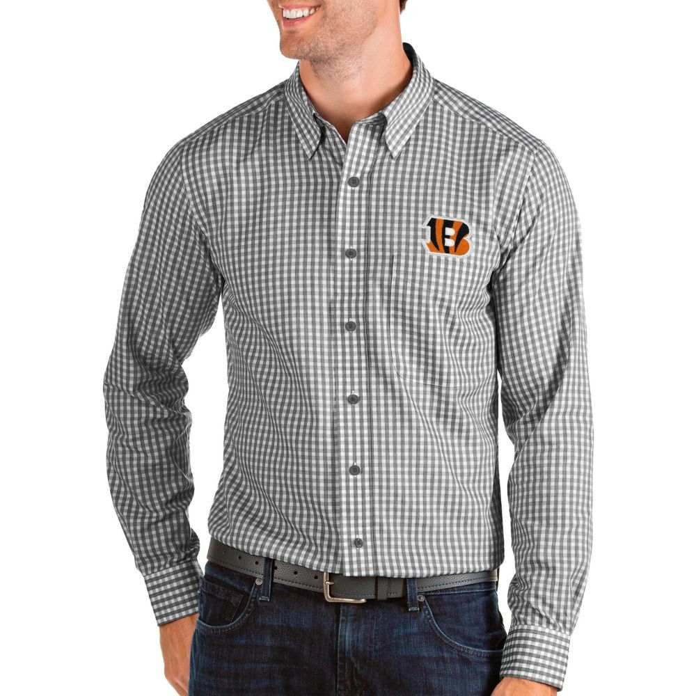 アンティグア Antigua メンズ シャツ トップス【Cincinnati Bengals Structure Button Down Black Dress Shirt】