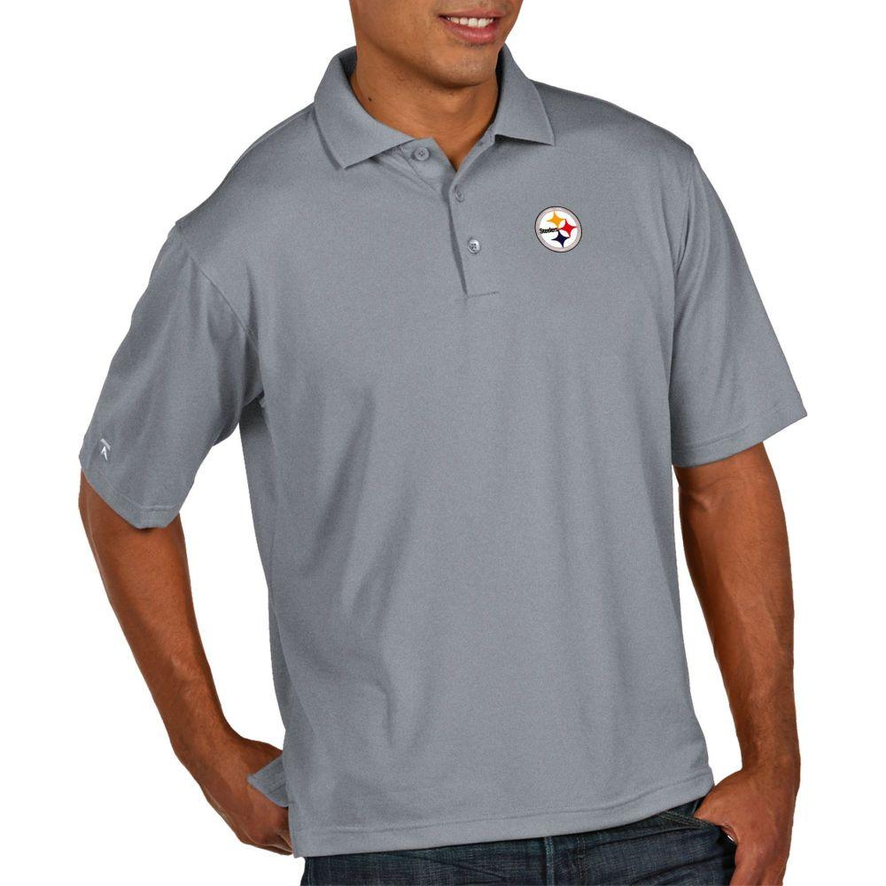 アンティグア Antigua メンズ ポロシャツ トップス【Pittsburgh Steelers Pique Xtra-Lite Performance Grey Polo】