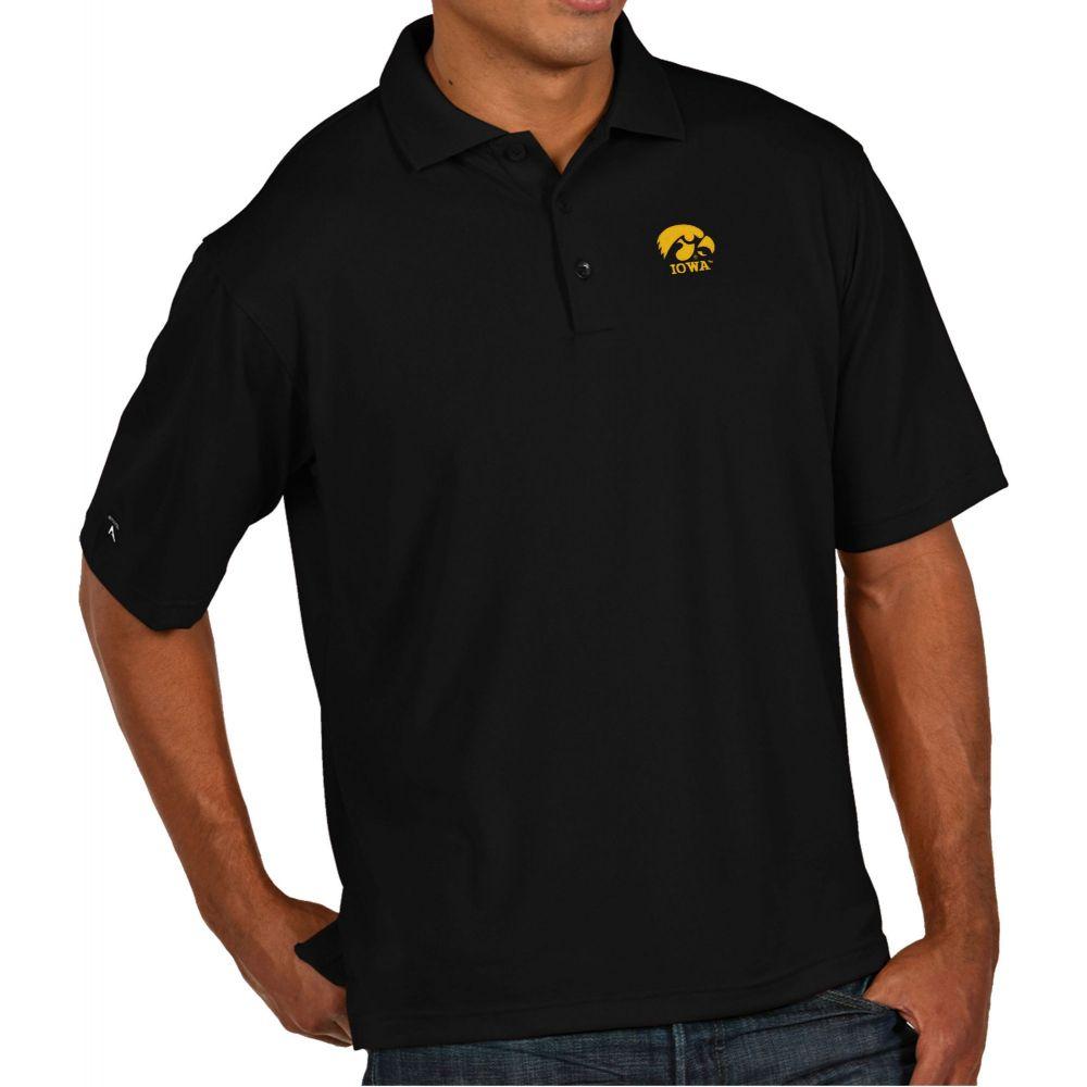 アンティグア Antigua メンズ ポロシャツ トップス【Iowa Hawkeyes Black Pique Xtra-Lite Polo】