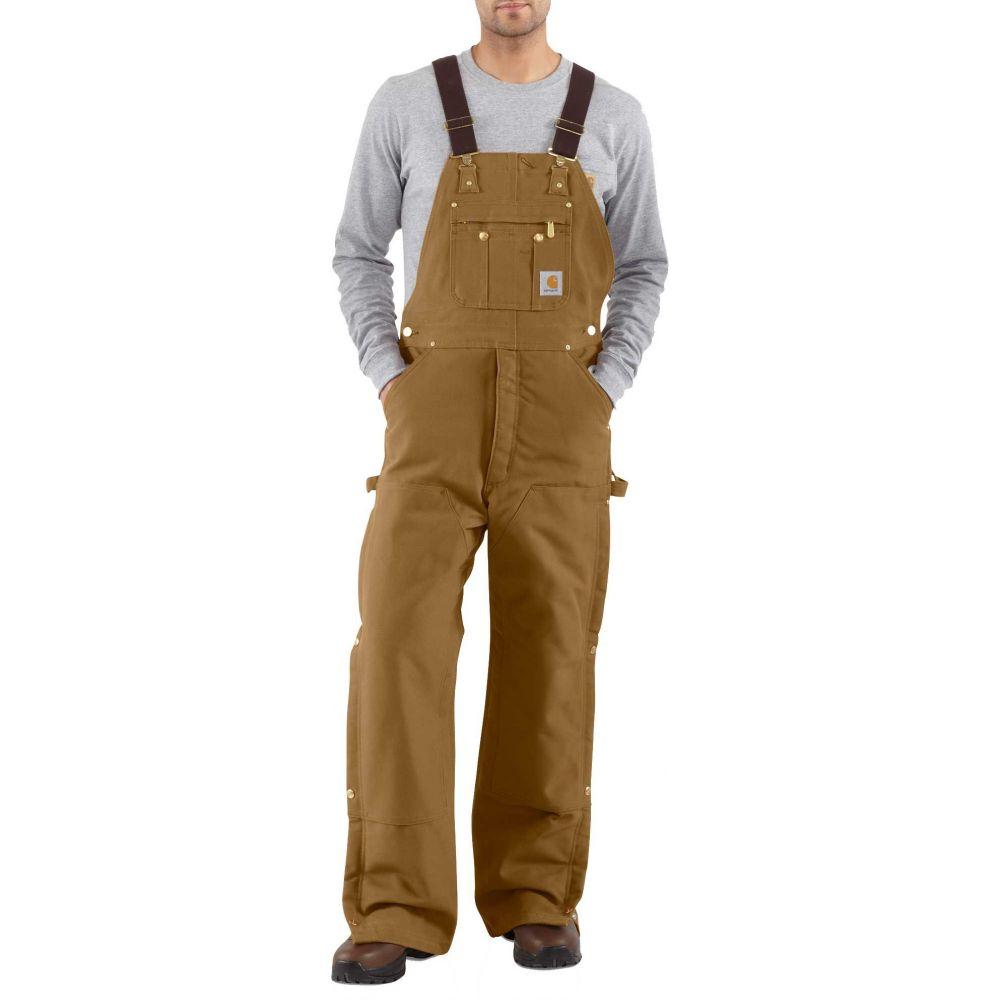 カーハート Carhartt メンズ ボトムス・パンツ 【Zip-To-Thigh Quilt Lined Duck Bibs (Regular and Big & Tall)】Carhartt Brown