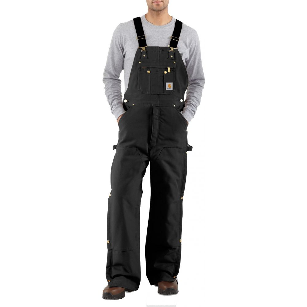カーハート Carhartt メンズ ボトムス・パンツ 【Zip-To-Thigh Quilt Lined Duck Bibs (Regular and Big & Tall)】Black