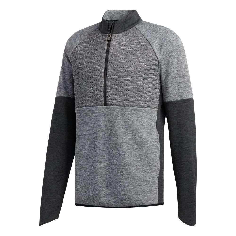 アディダス adidas メンズ ゴルフ トップス【Quilted Frostguard 1/4 Zip Golf Pullover】Carbon Mel
