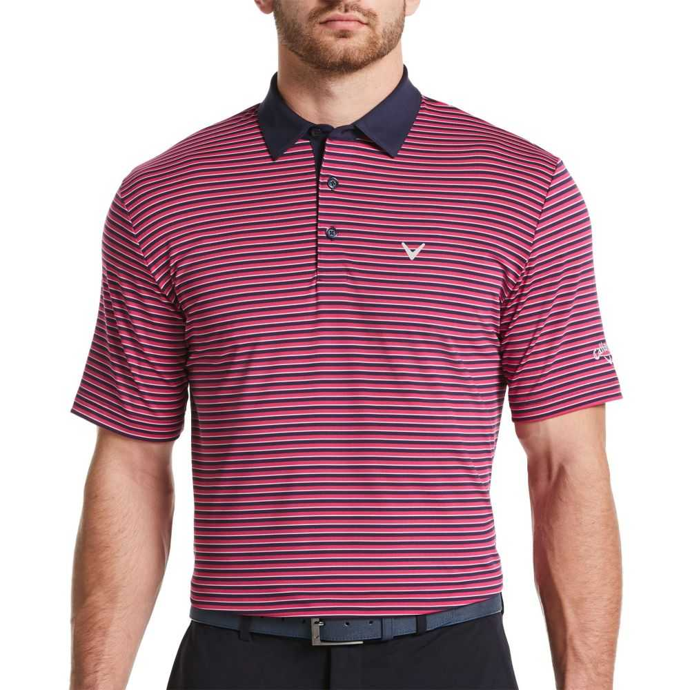 キャロウェイ Callaway メンズ ゴルフ ポロシャツ トップス【Refined 3 Color Stripe Golf Polo】Boudoir Red
