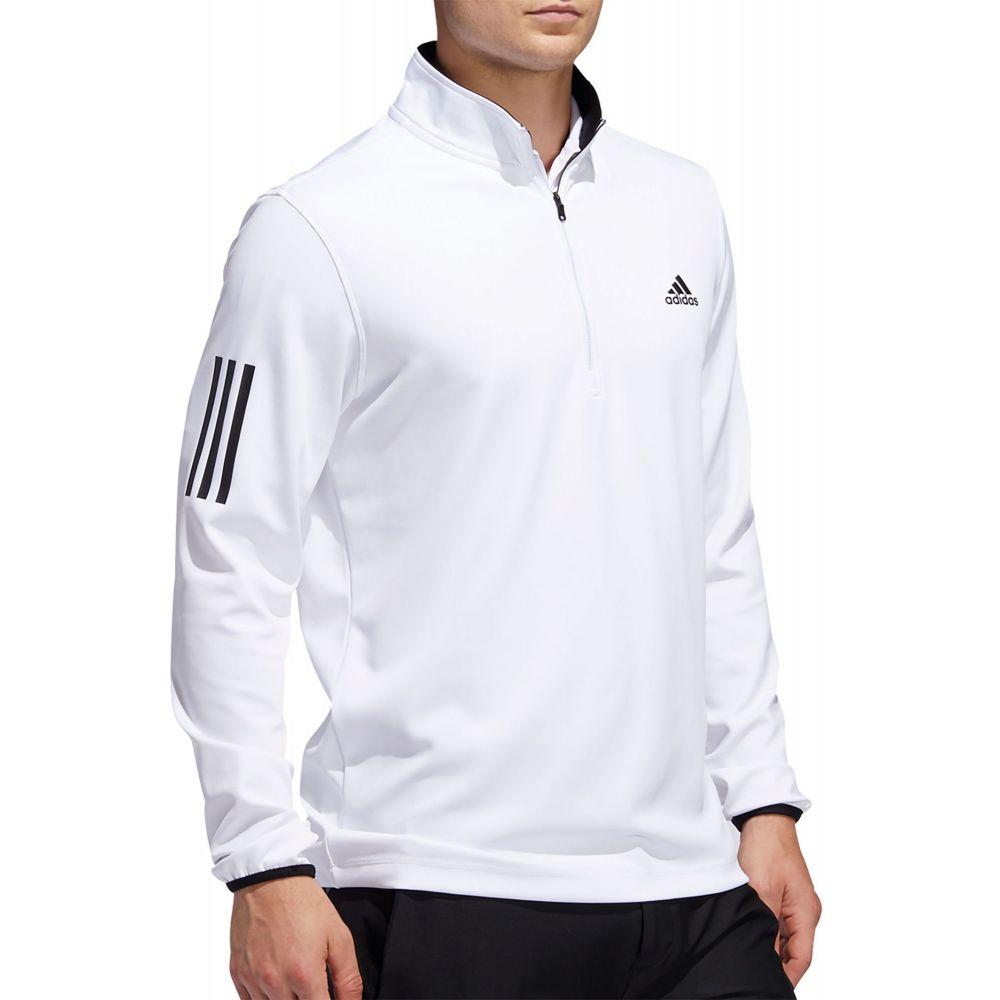 アディダス adidas メンズ ゴルフ ハーフジップ トップス【Midweight 1/2 Zip 3-Stripe Golf Pullover】White/Black