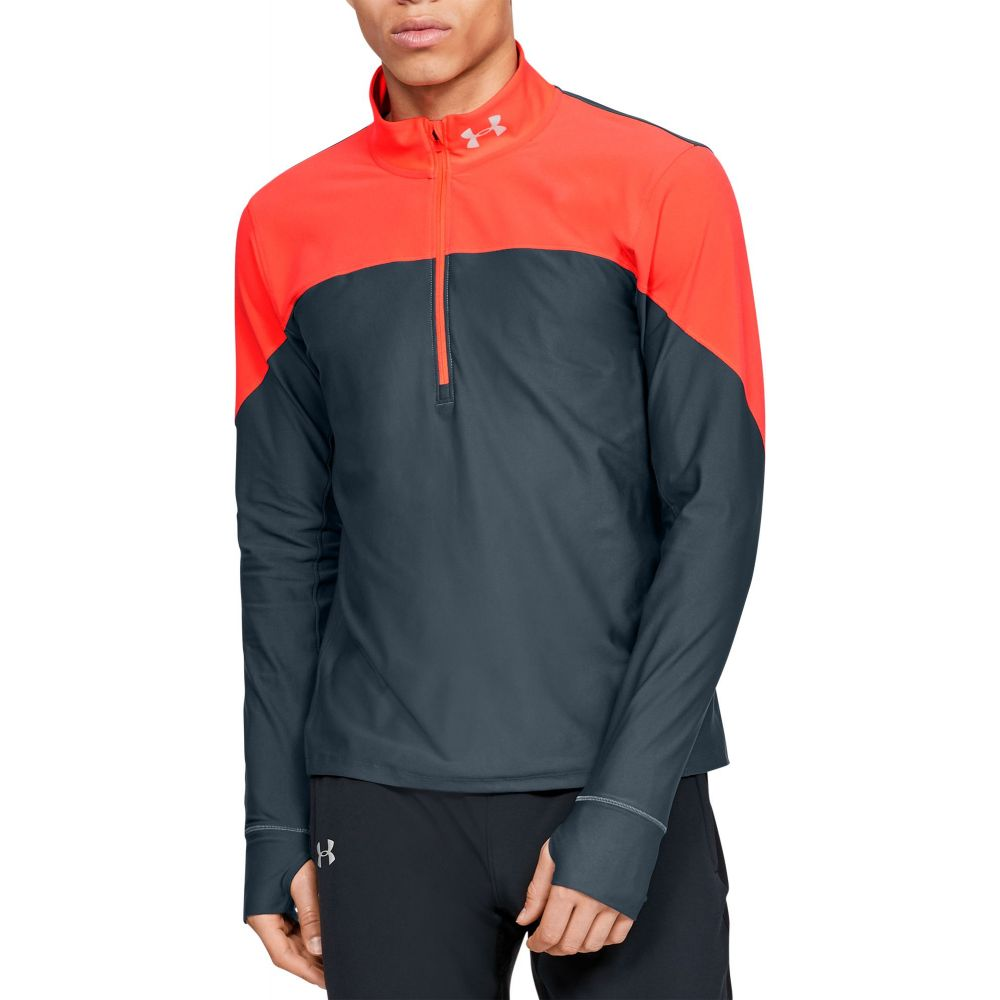 アンダーアーマー Under Armour メンズ ランニング・ウォーキング ハーフジップ トップス【Qualifier 1/2 Zip Running Long Sleeve Shirt (Regular and Big & Tall)】Wire/Beta Red/Reflective