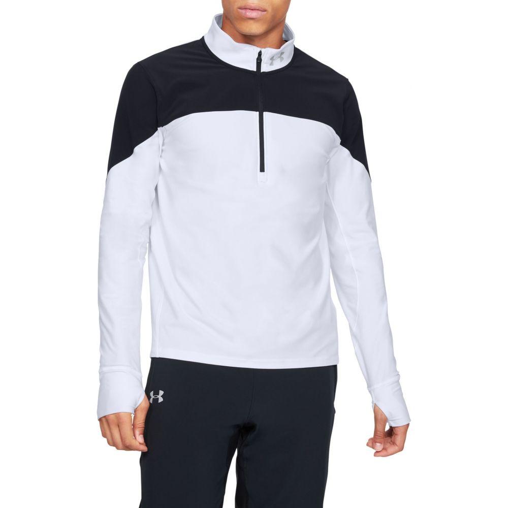 アンダーアーマー Under Armour メンズ ランニング・ウォーキング ハーフジップ トップス【Qualifier 1/2 Zip Running Long Sleeve Shirt (Regular and Big & Tall)】White/Black