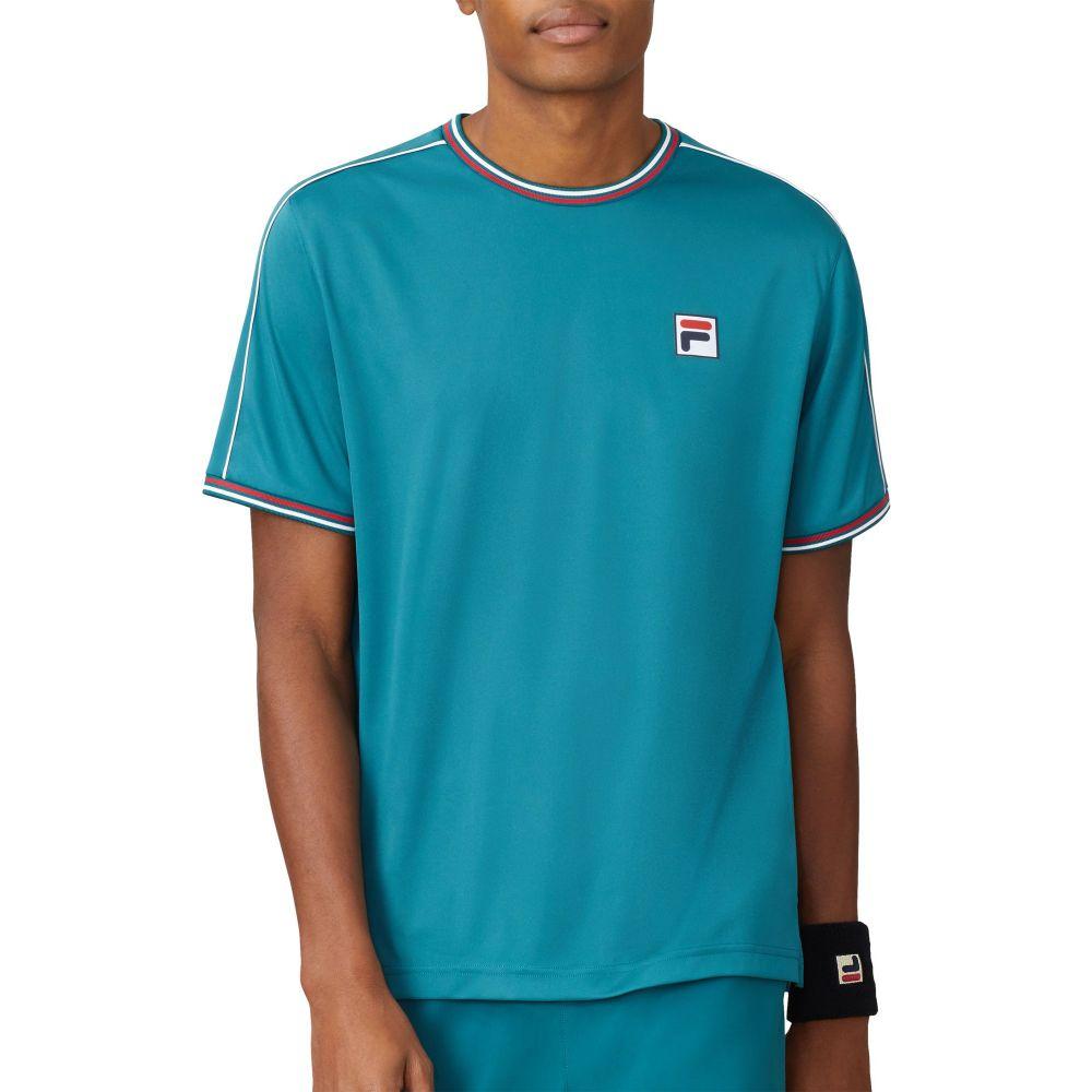 フィラ Fila メンズ テニス トップス【FILA Legend Crewneck Tennis Shirt】Pacific/White/Chinese Red