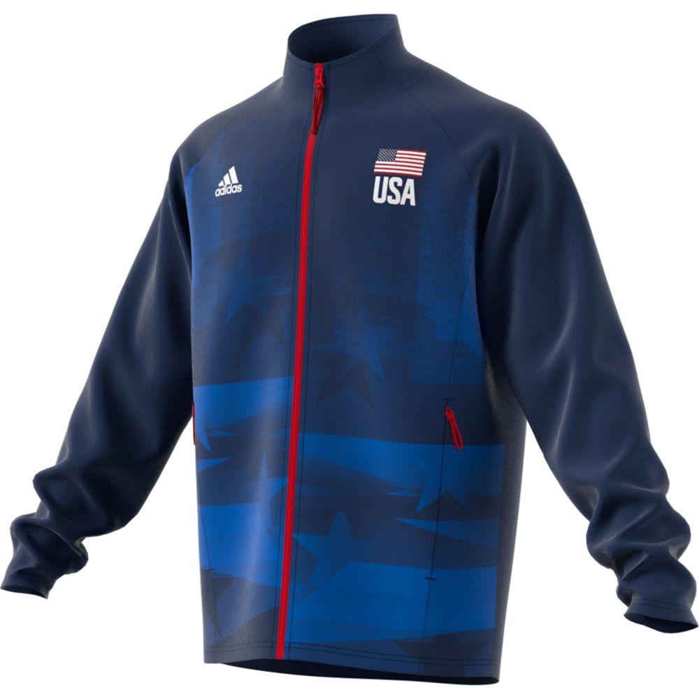 アディダス adidas メンズ バレーボール ジャケット トップス【USA Volleyball Warm-Up Jacket】Team Navy/Blue/White/Red