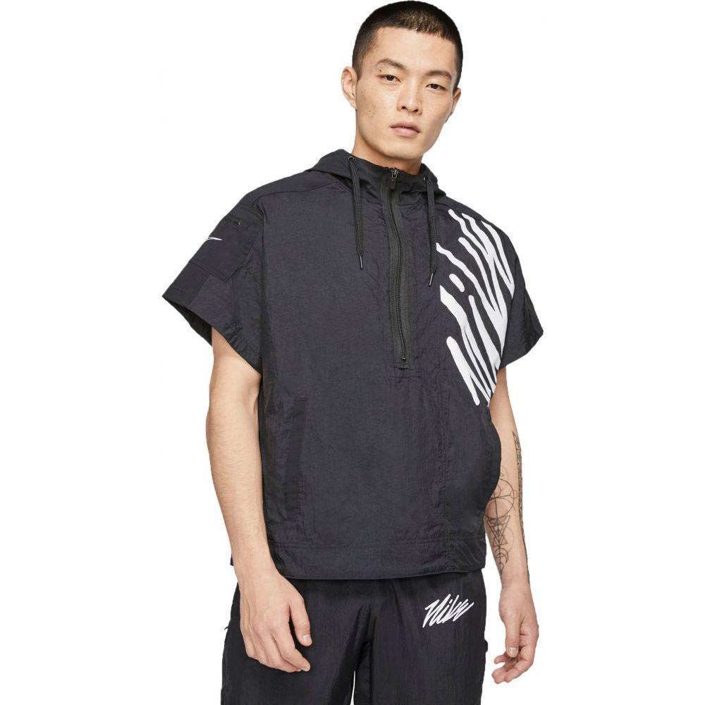ナイキ Nike メンズ フィットネス・トレーニング ハーフジップ パーカー トップス【Lightweight Short-Sleeve 1/2 Zip Training Hoodie】Black/Black/Black/White