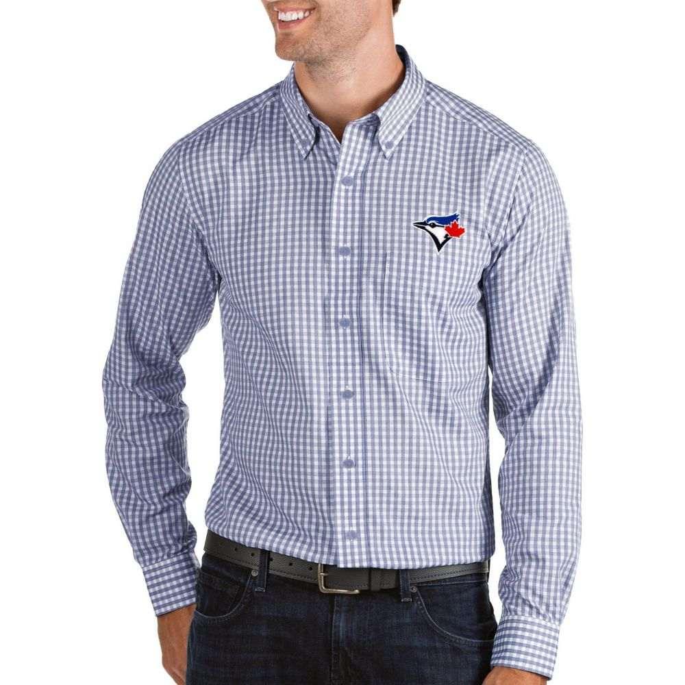 アンティグア Antigua メンズ シャツ トップス【Toronto Blue Jays Structure Button-Up Royal Long Sleeve Shirt】