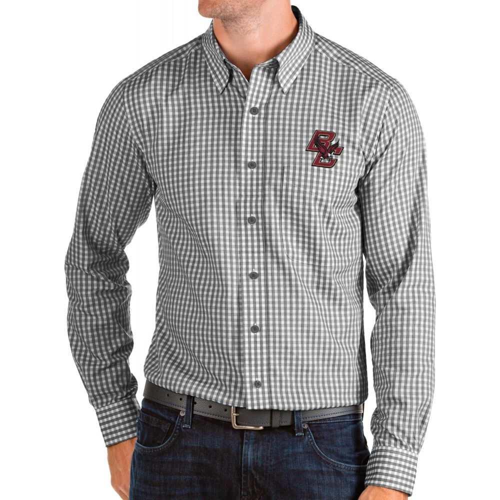 アンティグア Antigua メンズ シャツ トップス【Boston College Eagles Structure Button Down Long Sleeve Black Shirt】