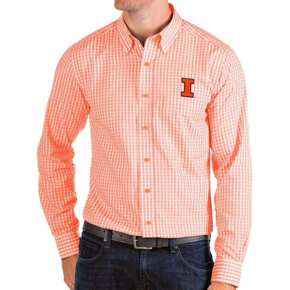 アンティグア Antigua メンズ シャツ トップス【Illinois Fighting Illini Orange Structure Button Down Long Sleeve Shirt】