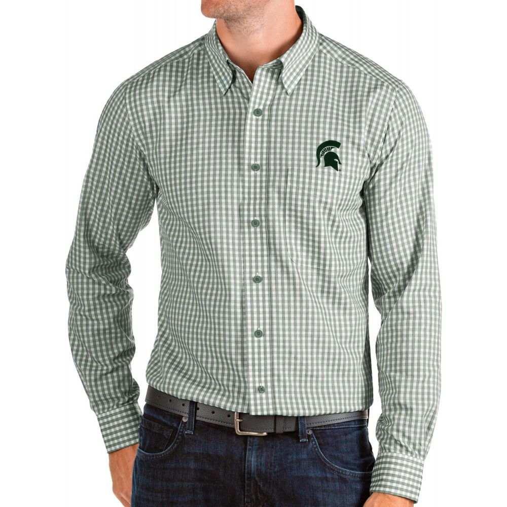 アンティグア Antigua メンズ シャツ トップス【Michigan State Spartans Green Structure Button Down Long Sleeve Shirt】