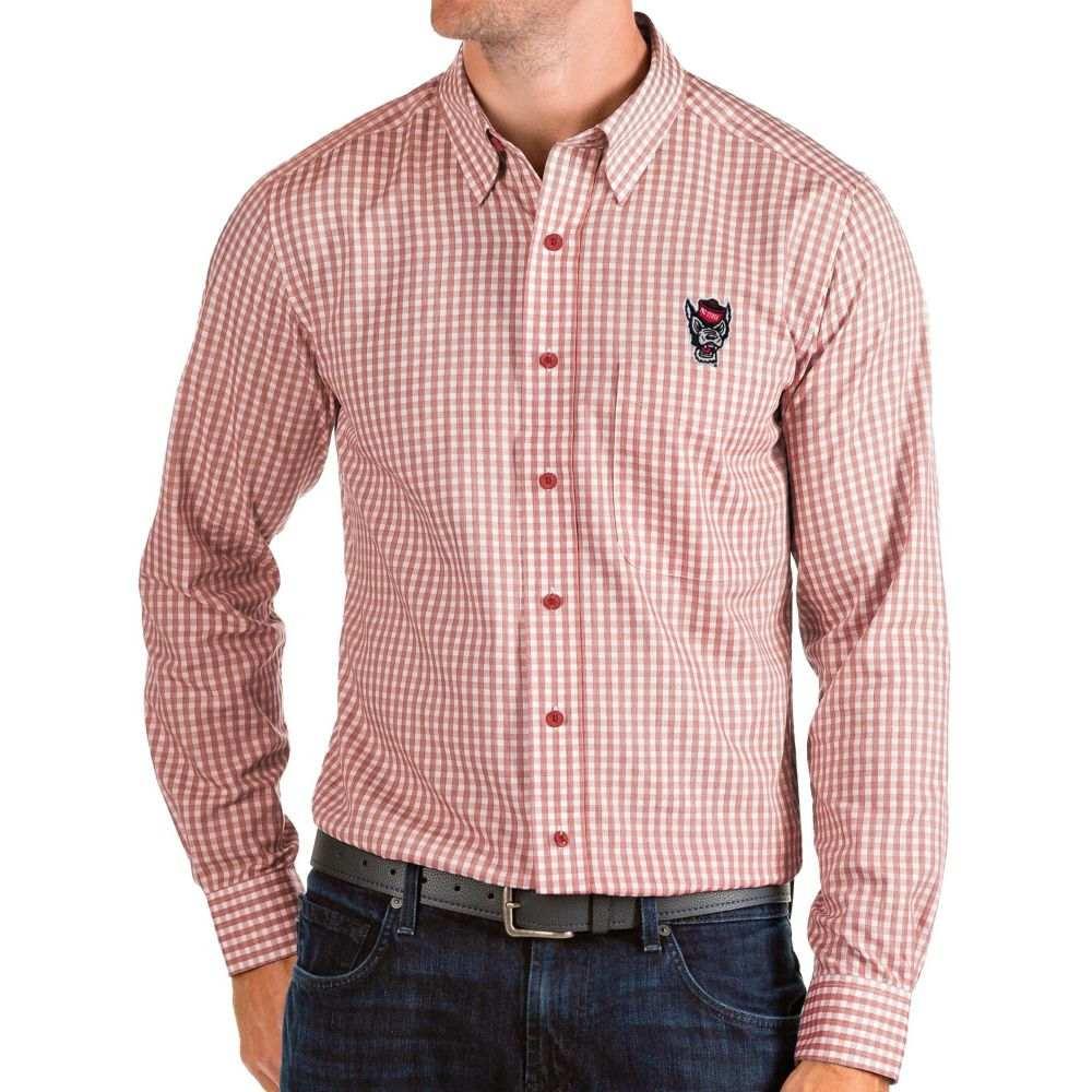 アンティグア Antigua メンズ シャツ トップス【NC State Wolfpack Red Structure Button Down Long Sleeve Shirt】