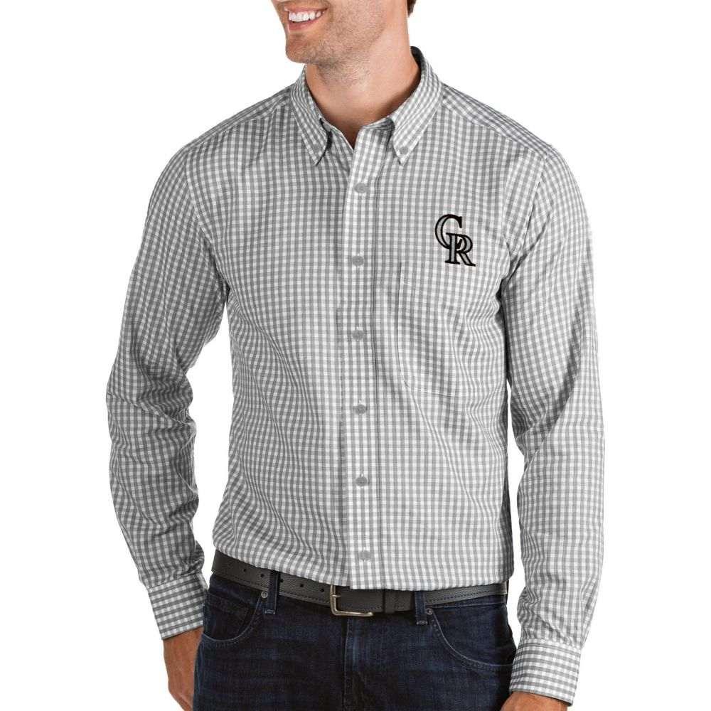 アンティグア Antigua メンズ シャツ トップス【Colorado Rockies Structure Button-Up Grey Long Sleeve Shirt】