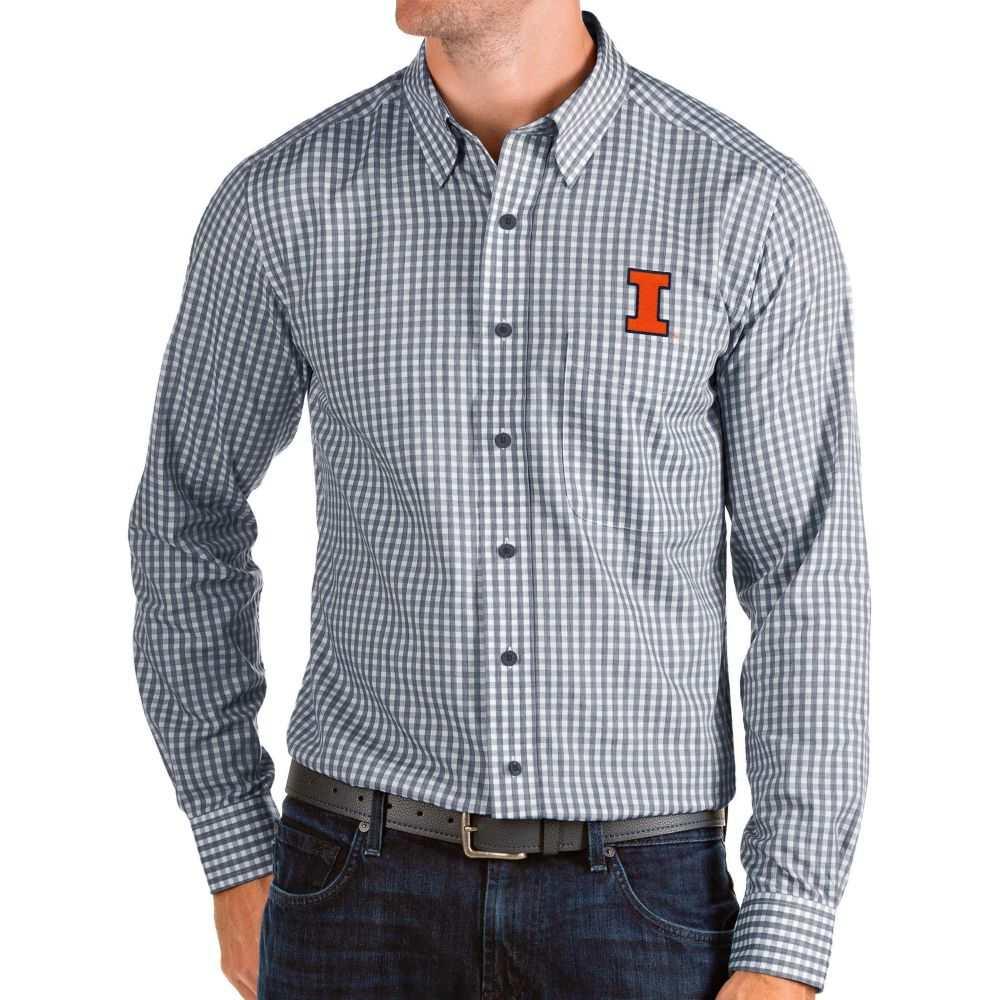 アンティグア Antigua メンズ シャツ トップス【Illinois Fighting Illini Blue Structure Button Down Long Sleeve Shirt】