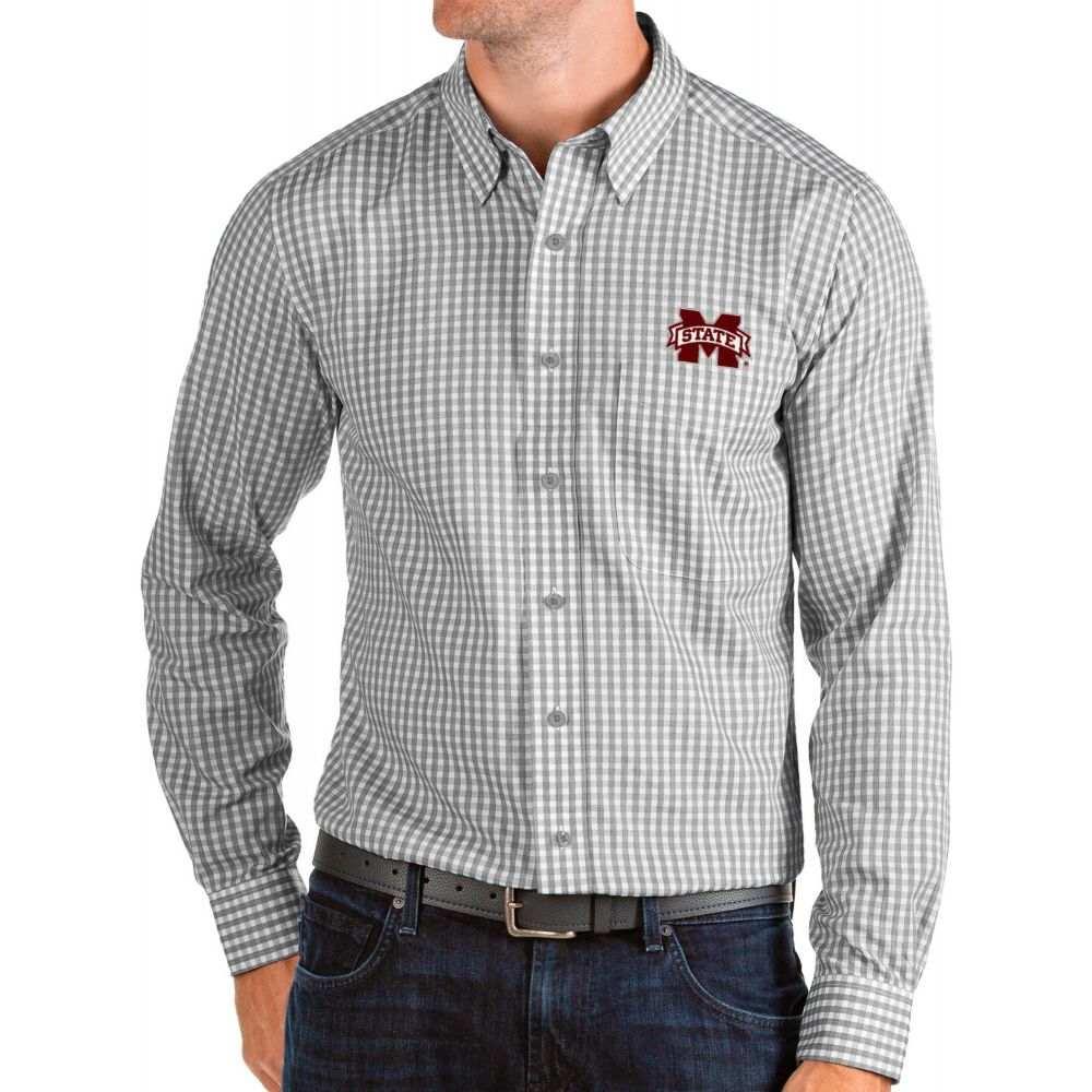 アンティグア Antigua メンズ シャツ トップス【Mississippi State Bulldogs Grey Structure Button Down Long Sleeve Shirt】