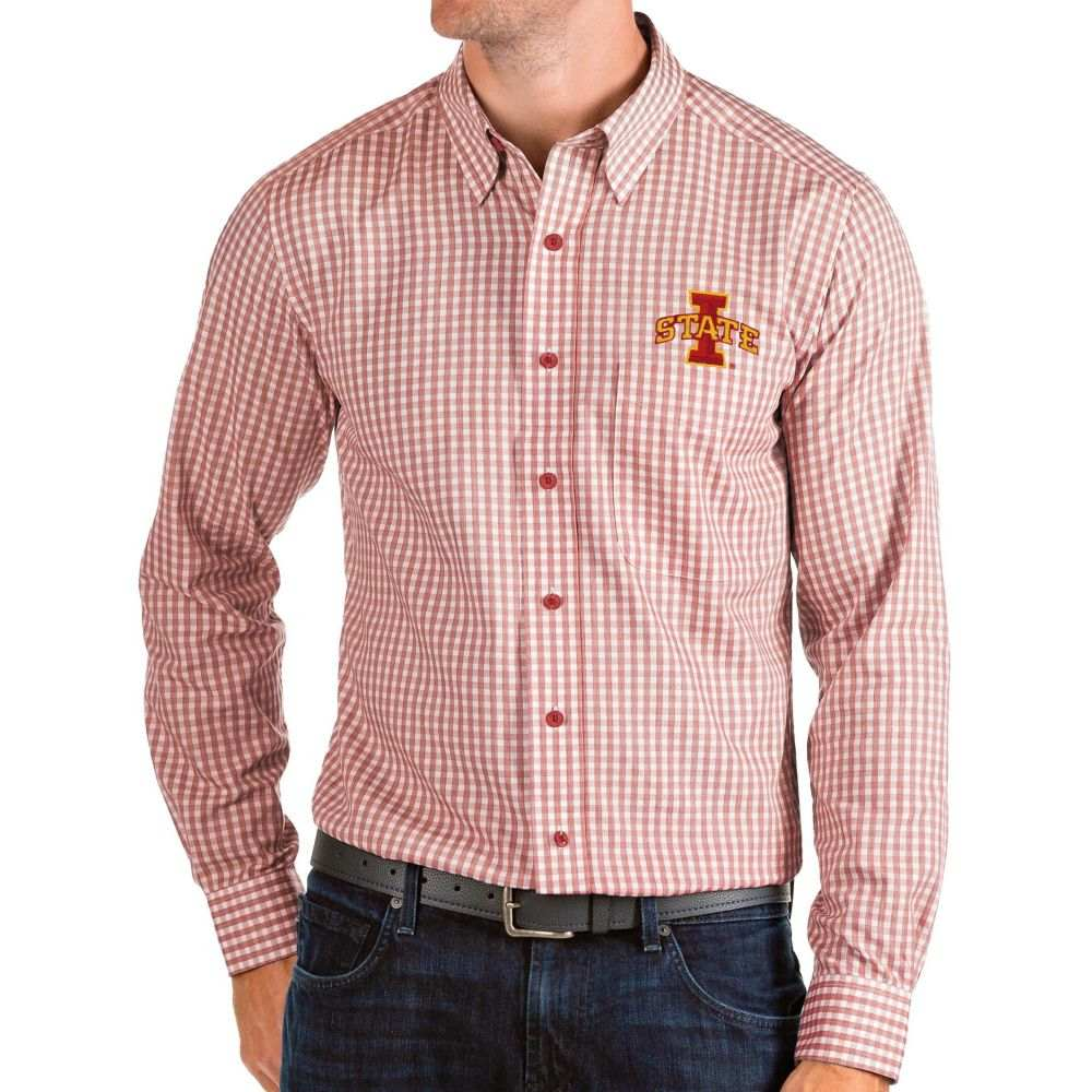 アンティグア Antigua メンズ シャツ トップス【Iowa State Cyclones Cardinal Structure Button Down Long Sleeve Shirt】