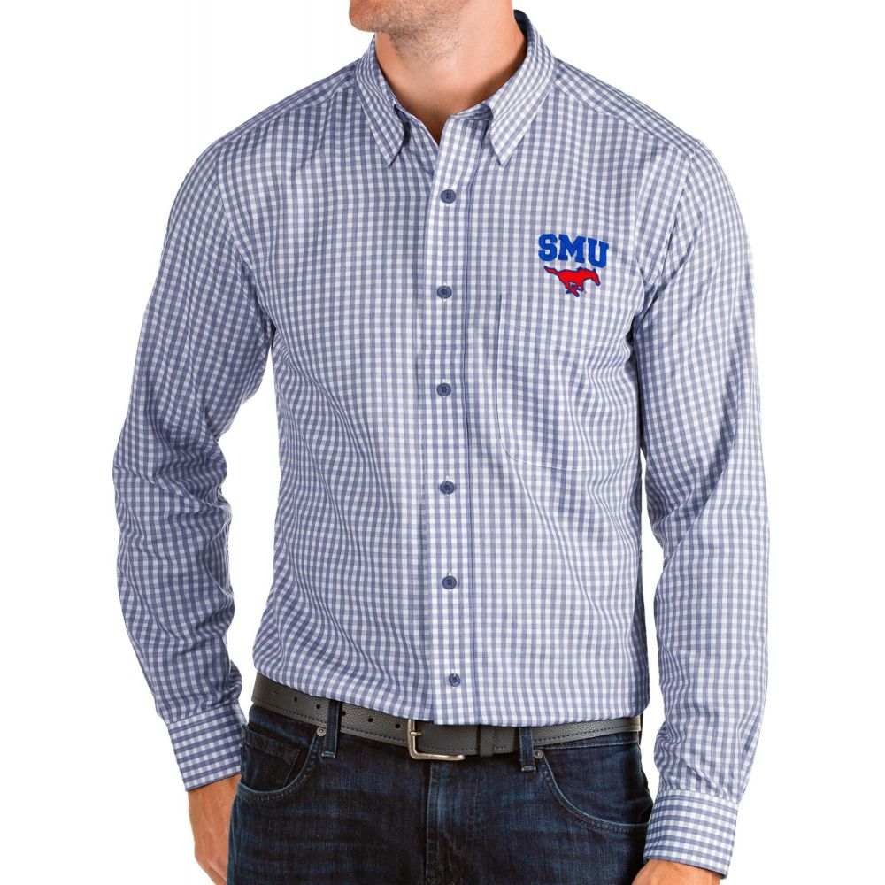 アンティグア Antigua メンズ シャツ トップス【Southern Methodist Mustangs Blue Structure Button Down Long Sleeve Shirt】