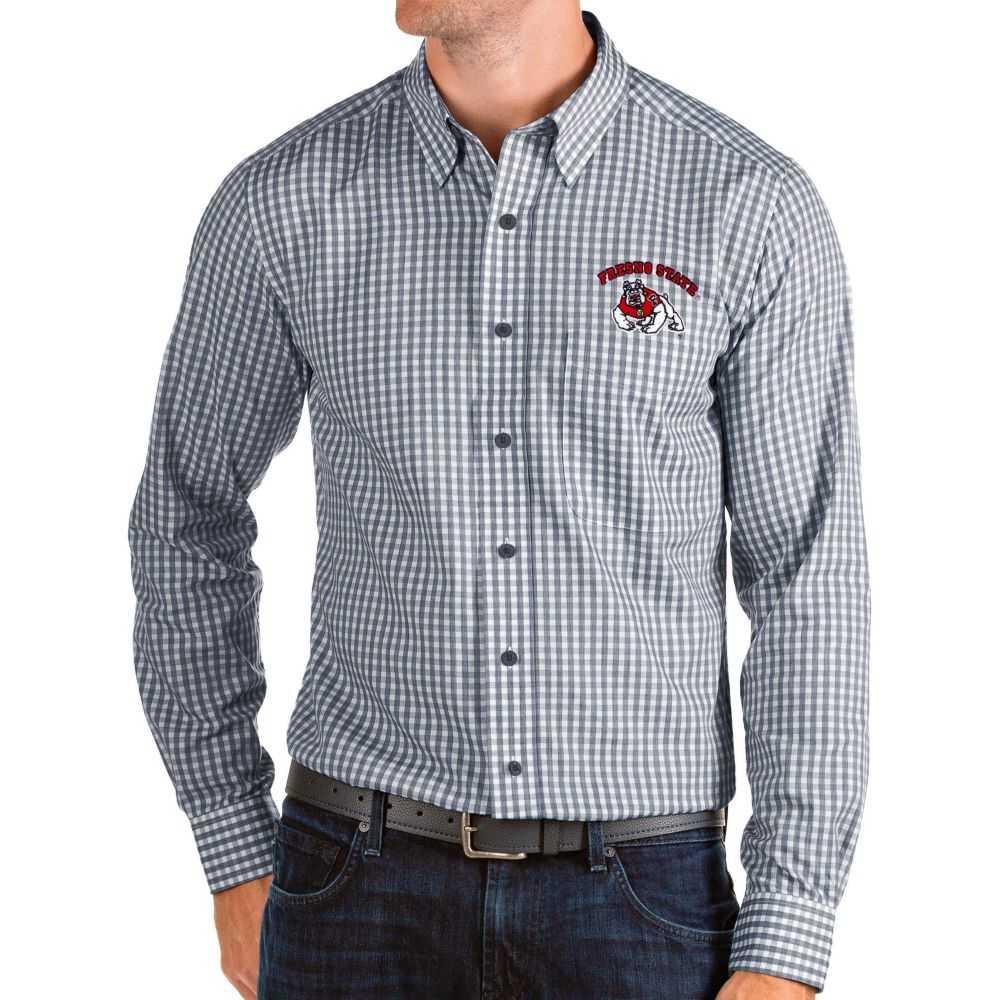 アンティグア Antigua メンズ シャツ トップス【Fresno State Bulldogs Blue Structure Button Down Long Sleeve Shirt】