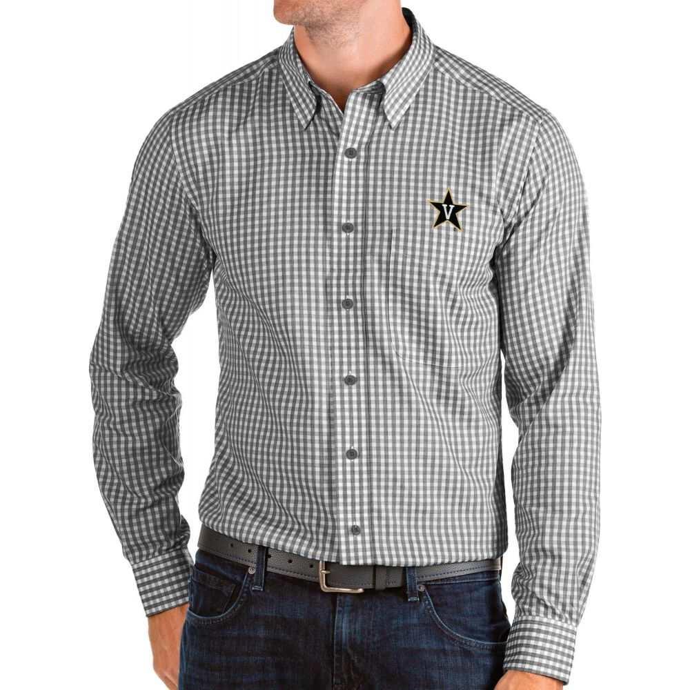 アンティグア Antigua メンズ シャツ トップス【Vanderbilt Commodores Structure Button Down Long Sleeve Black Shirt】