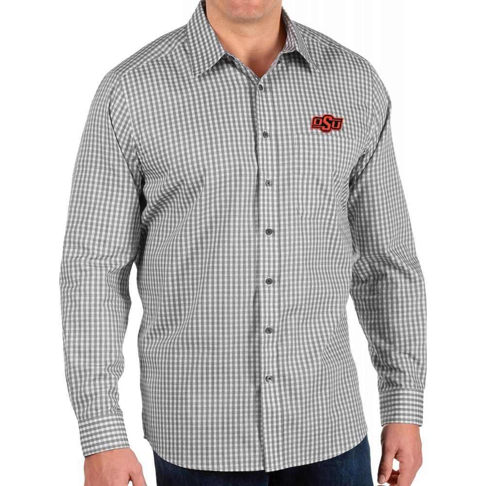 アンティグア Antigua メンズ シャツ トップス【Oklahoma State Cowboys Structure Button Down Long Sleeve Black Shirt】