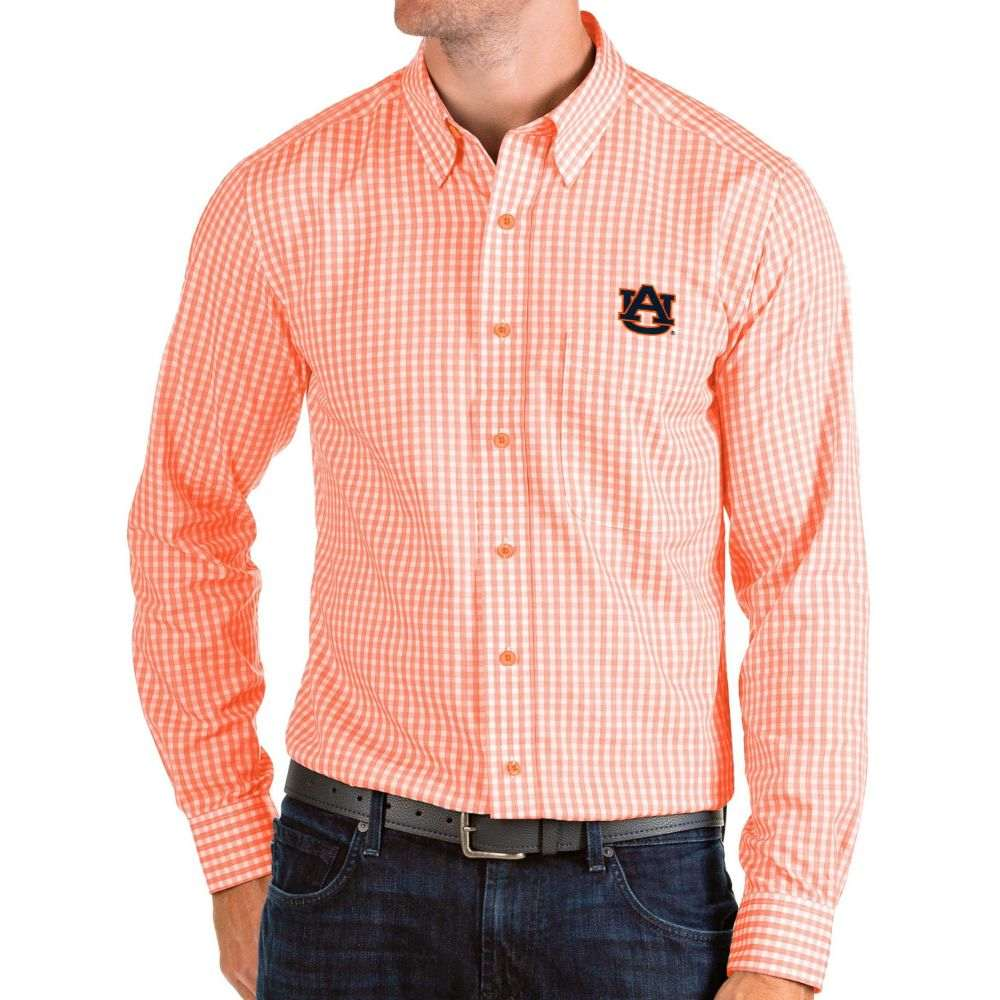 アンティグア Antigua メンズ シャツ トップス【Auburn Tigers Orange Structure Button Down Long Sleeve Shirt】