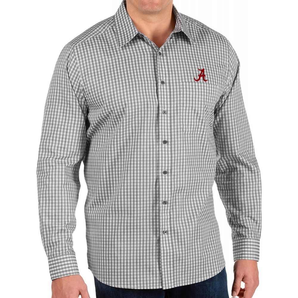 アンティグア Antigua メンズ シャツ トップス【Alabama Crimson Tide Structure Button Down Long Sleeve Black Shirt】