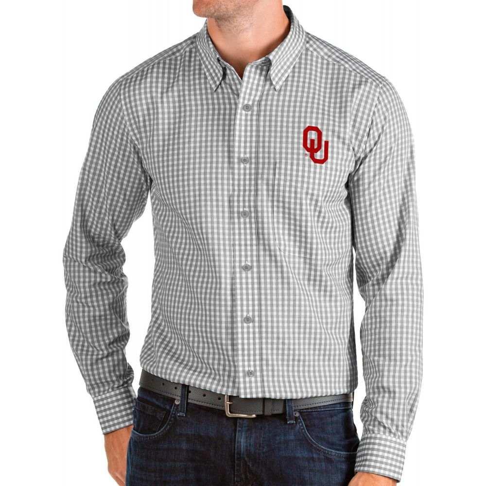 アンティグア Antigua メンズ シャツ トップス【Oklahoma Sooners Grey Structure Button Down Long Sleeve Shirt】