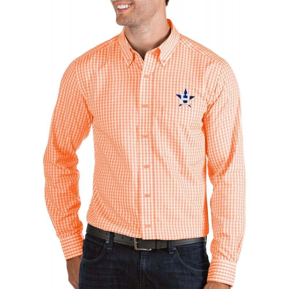 アンティグア Antigua メンズ シャツ トップス【Houston Astros Structure Button-Up Orange Long Sleeve Shirt】