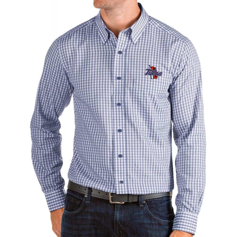アンティグア Antigua メンズ シャツ トップス【Tulsa Golden Hurricane Blue Structure Button Down Long Sleeve Shirt】