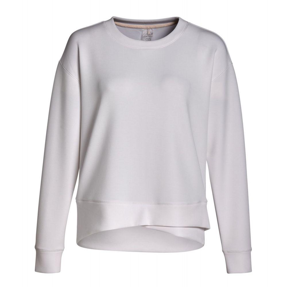 キャリー アンダーウッド CALIA by Carrie Underwood レディース スウェット・トレーナー トップス【Cupro Overlap Hem Crewneck Sweatshirt】Pure White