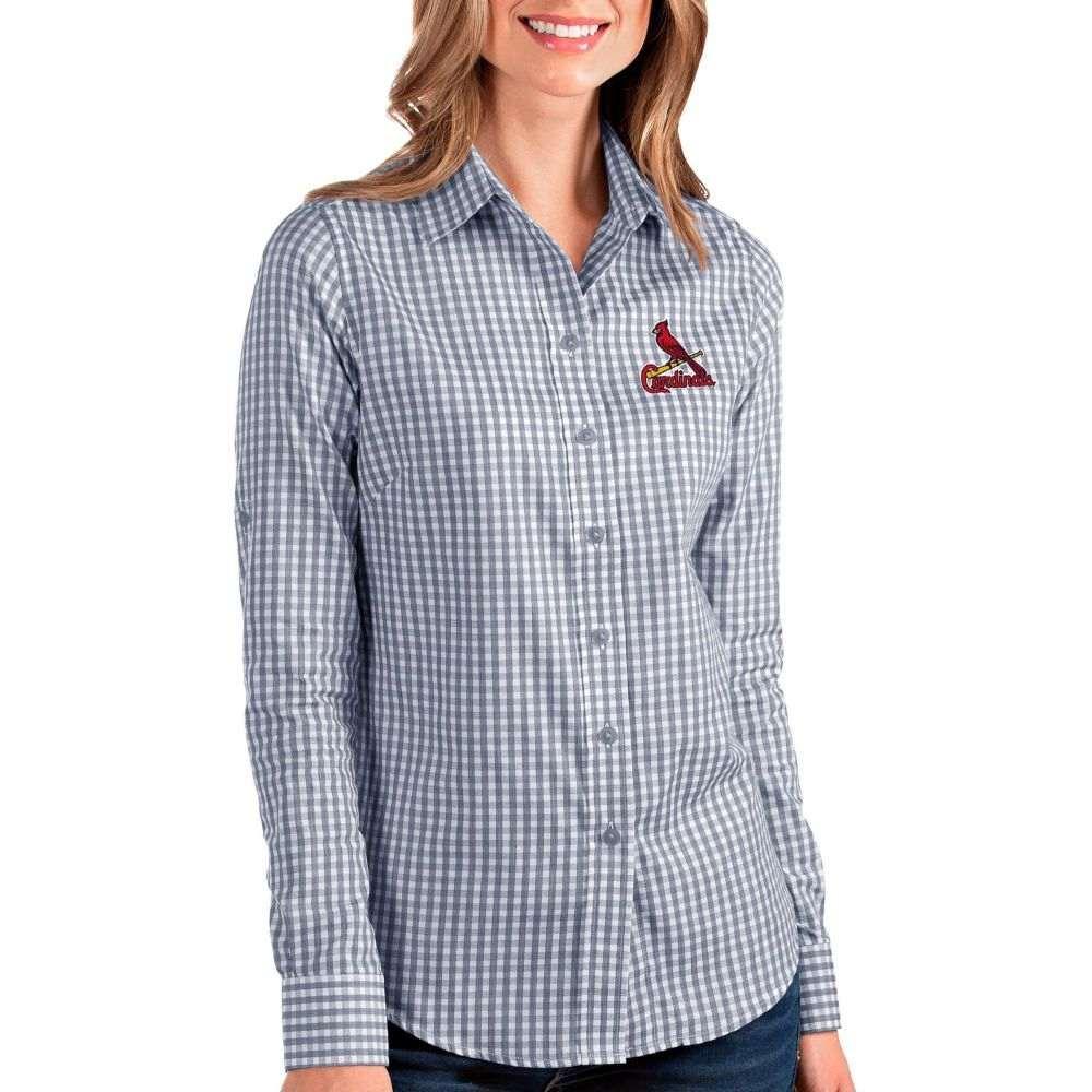 アンティグア Antigua レディース ブラウス・シャツ トップス St Louis Cardinals Structure Button Up Navy Long Sleeve ShirtdoeCxB
