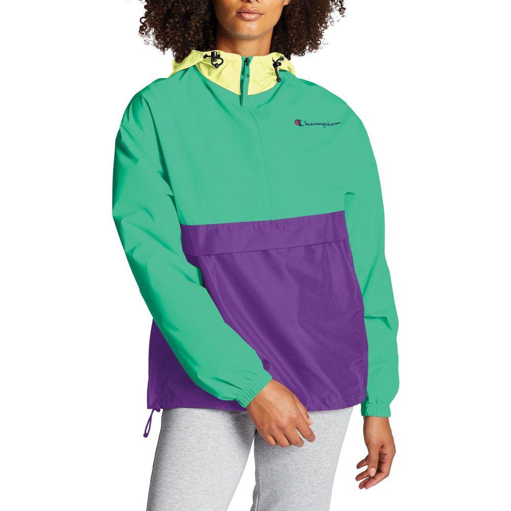 チャンピオン Champion レディース ジャケット アウター【Packable Colorblocked Jacket】Green Alive