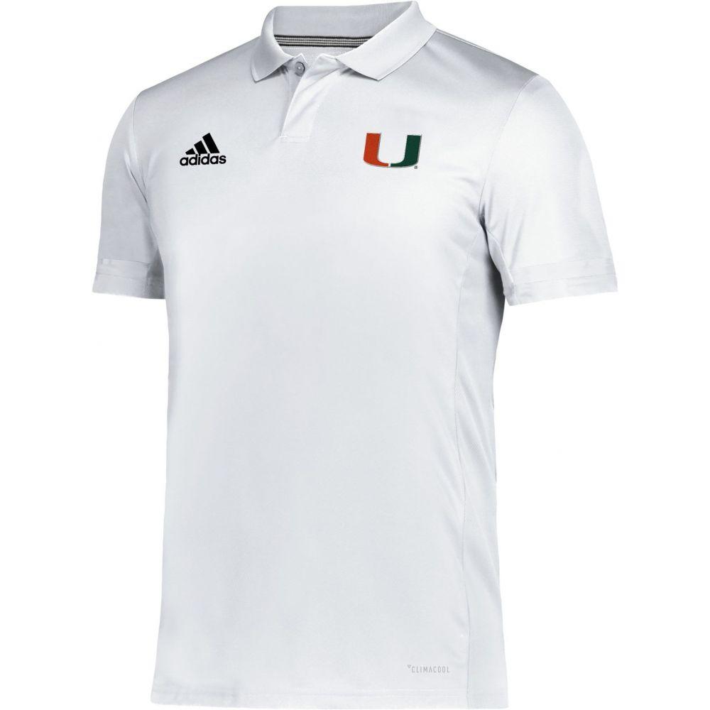 アディダス adidas メンズ アメリカンフットボール トップス【Miami Hurricanes Team 19 Sideline Football White Polo】