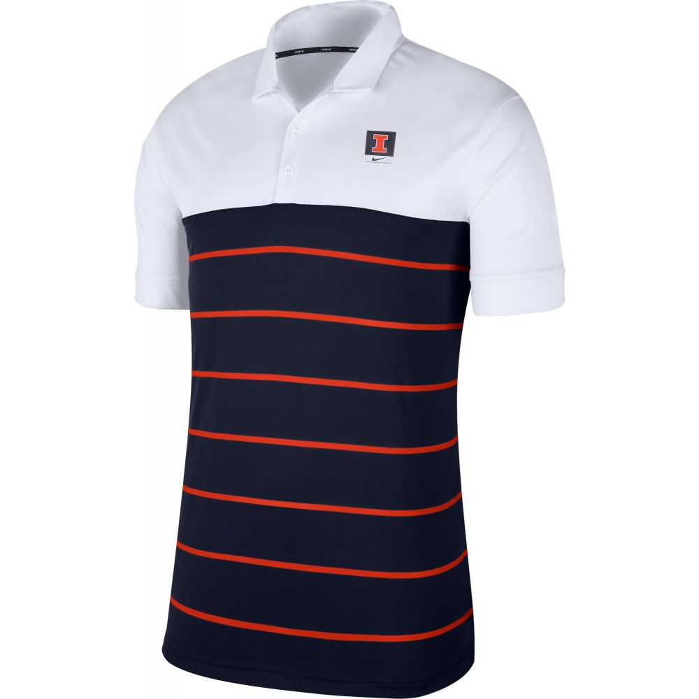 ナイキ Nike メンズ ポロシャツ トップス【Illinois Fighting Illini White/Blue Striped Polo】