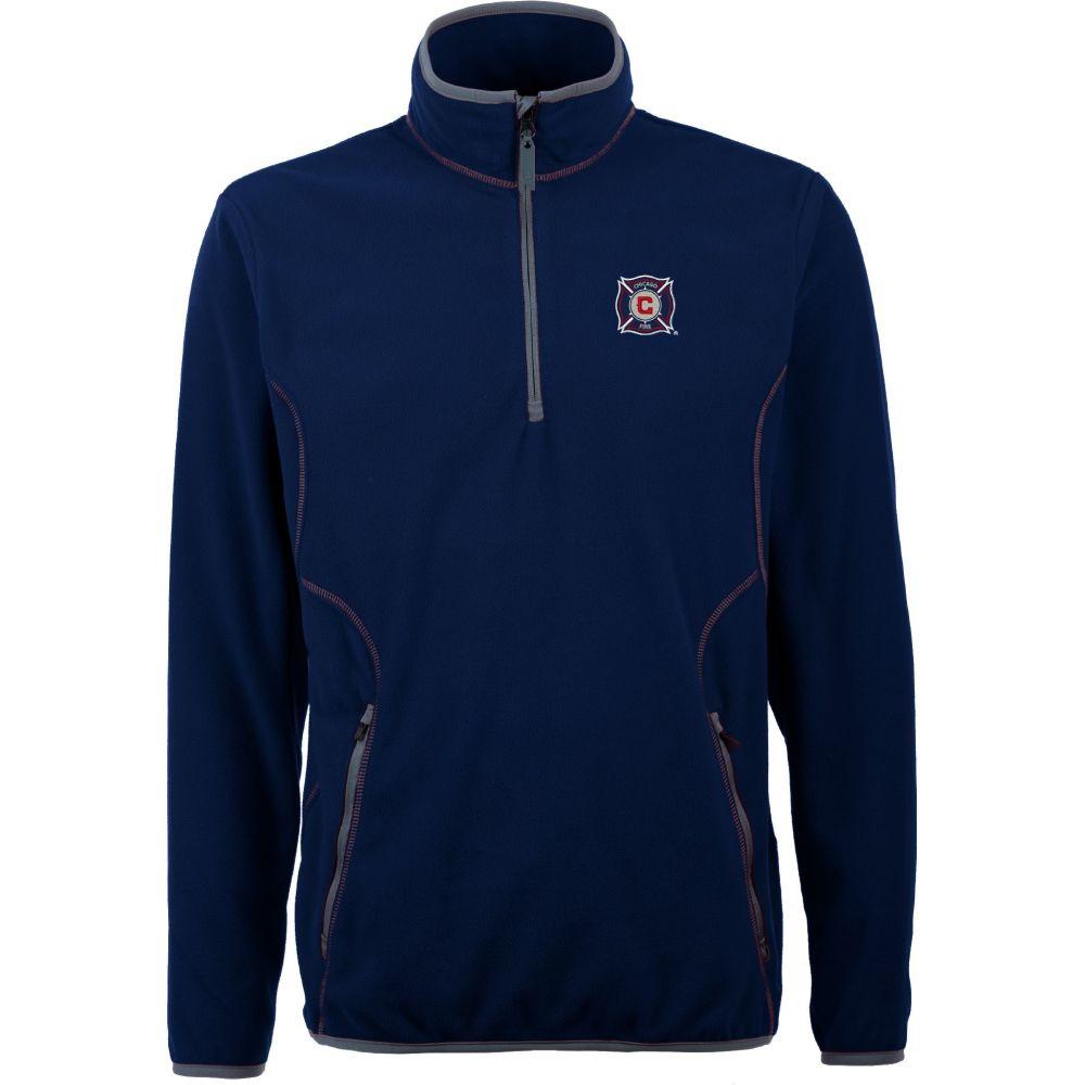 アンティグア Antigua メンズ フリース トップス【Chicago Fire Ice Navy Quarter-Zip Fleece Jacket】