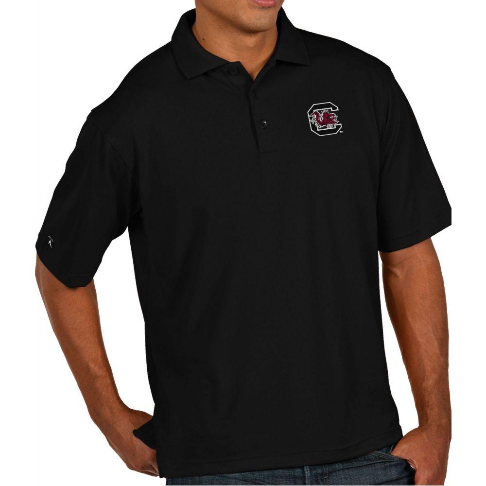アンティグア Antigua メンズ ポロシャツ トップス【South Carolina Gamecocks Black Pique Xtra-Lite Polo】