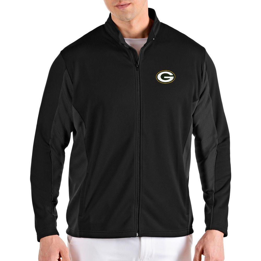 アンティグア Antigua メンズ ジャケット アウター【Green Bay Packers Passage Black Full-Zip Jacket】