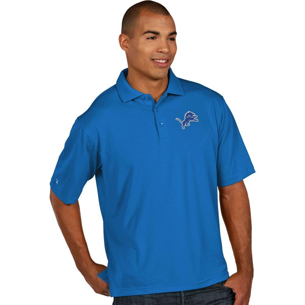 アンティグア Antigua メンズ ポロシャツ トップス【Detroit Lions Pique Xtra-Lite Blue Polo】