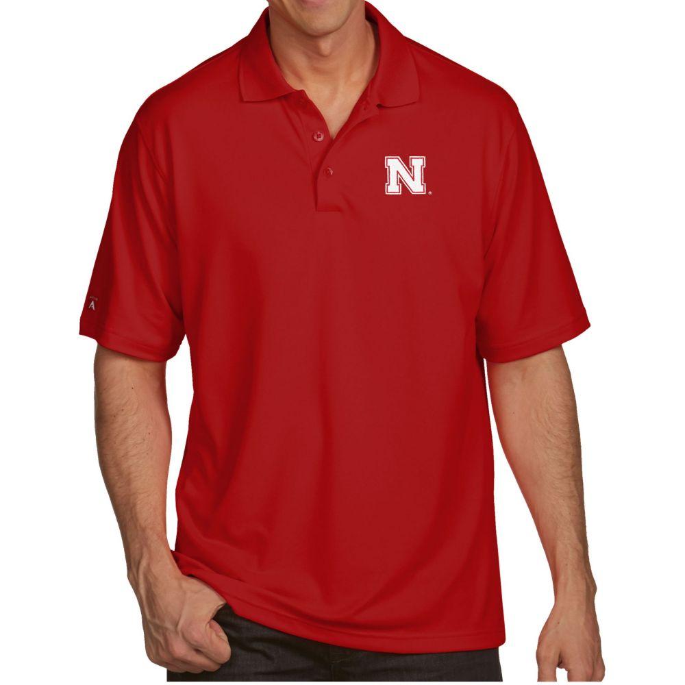 アンティグア Antigua メンズ ポロシャツ トップス【Nebraska Cornhuskers Scarlet Pique Xtra-Lite Polo】