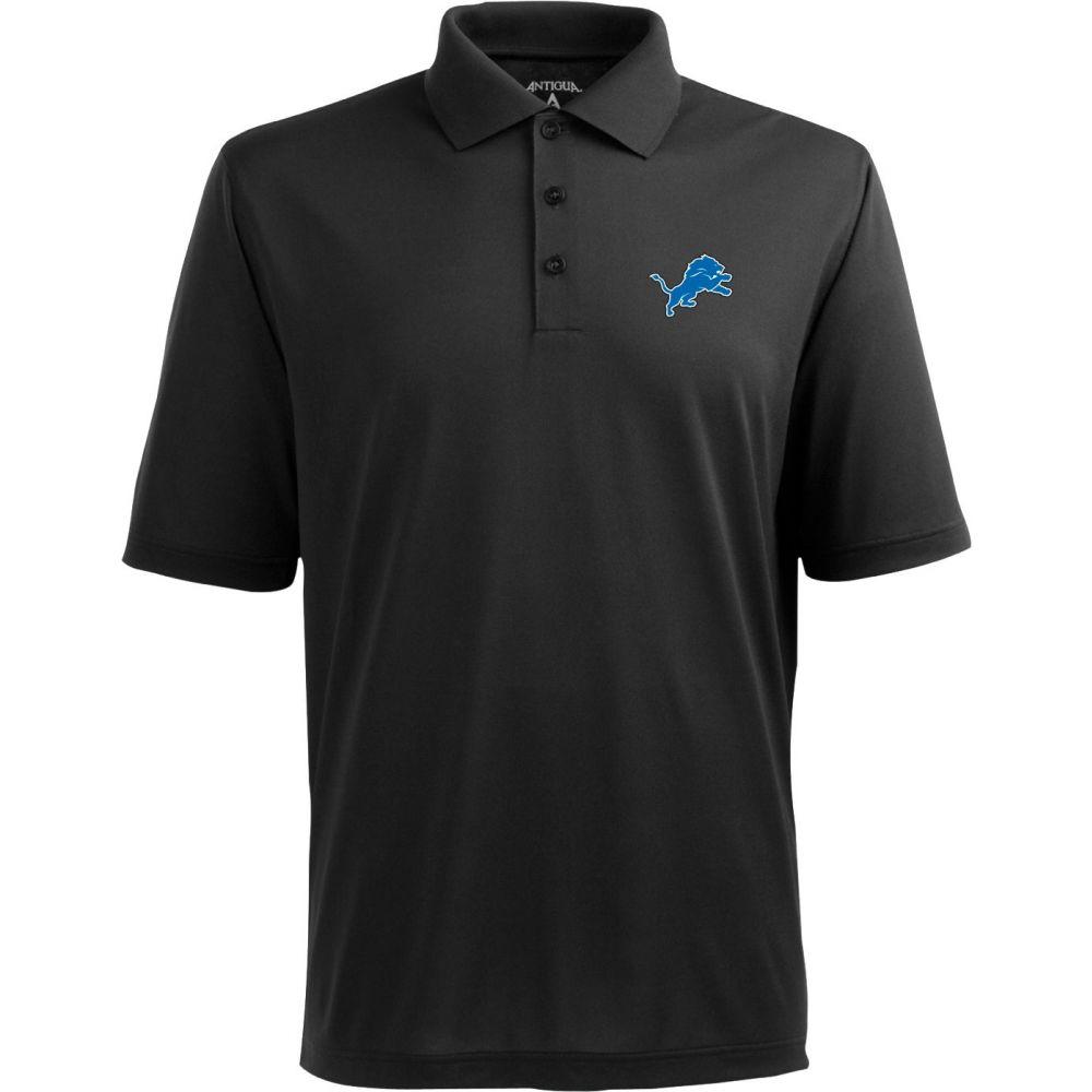 アンティグア Antigua メンズ ポロシャツ トップス【Detroit Lions Pique Xtra-Lite Black Polo】