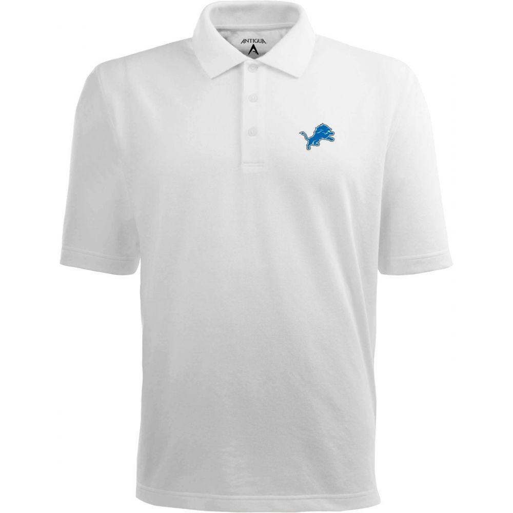 アンティグア Antigua メンズ ポロシャツ トップス【Detroit Lions Pique Xtra-Lite White Polo】