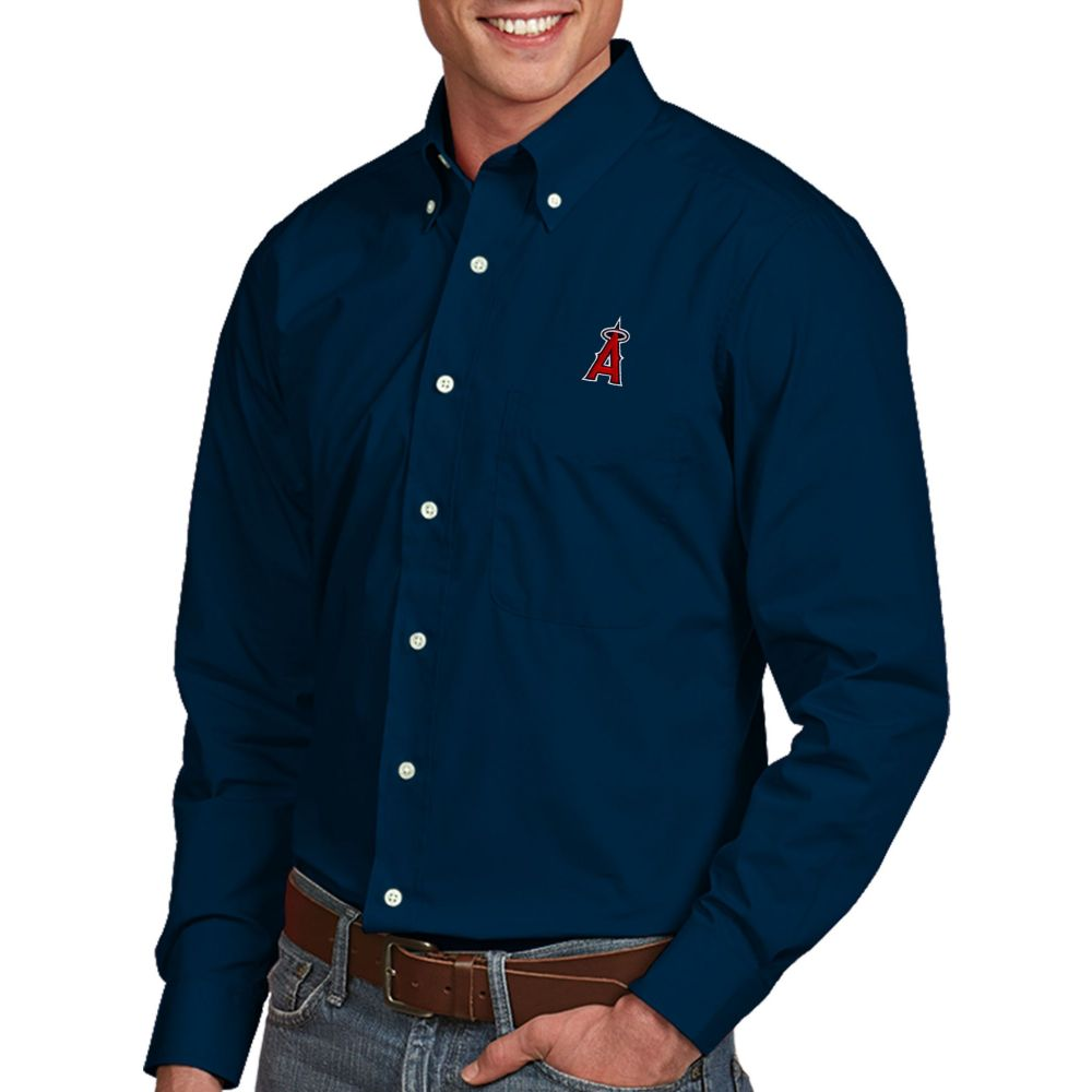 アンティグア Antigua メンズ シャツ トップス【Los Angeles Angels Dynasty Button-Up Navy Long Sleeve Shirt】
