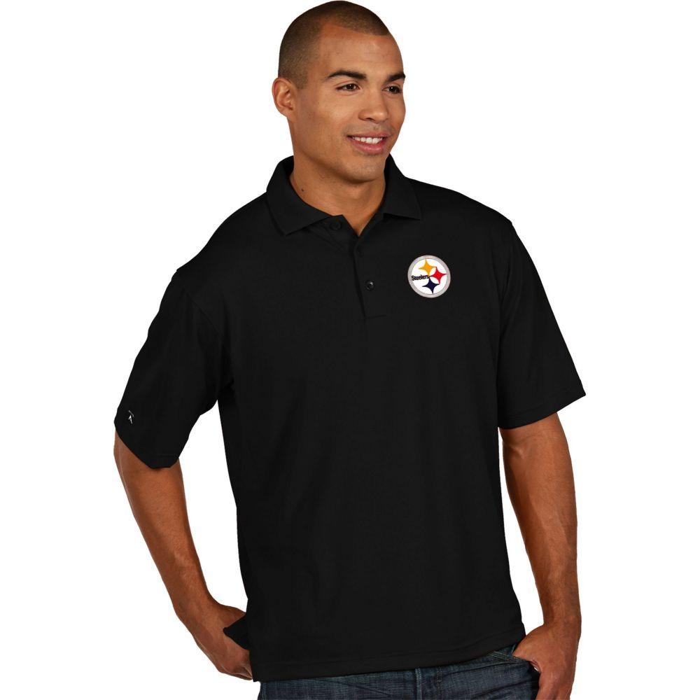 アンティグア Antigua メンズ ポロシャツ トップス【Pittsburgh Steelers Pique Xtra-Lite Black Polo】