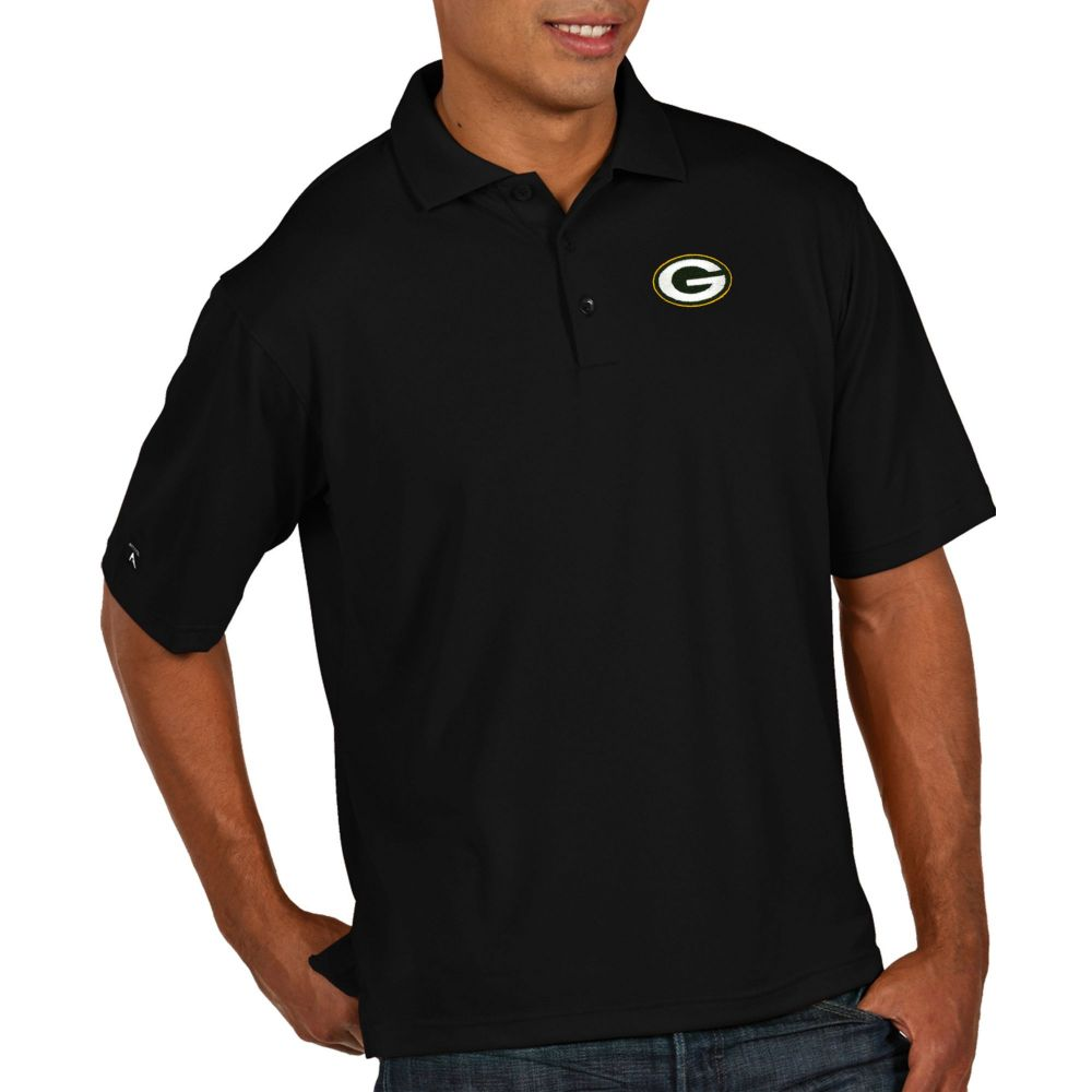 アンティグア Antigua メンズ ポロシャツ トップス【Green Bay Packers Pique Xtra-Lite Performance Black Polo】