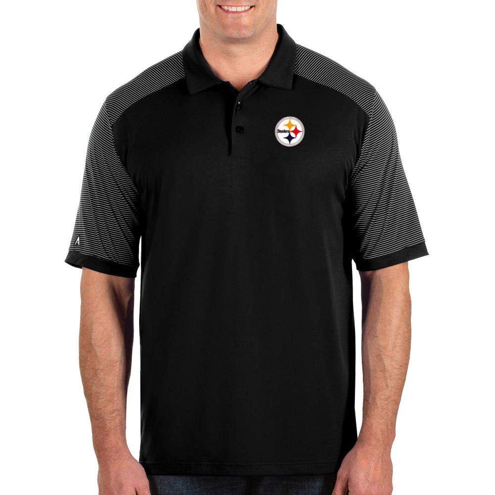 アンティグア Antigua メンズ ポロシャツ トップス【Pittsburgh Steelers Engage Performance Black Polo】