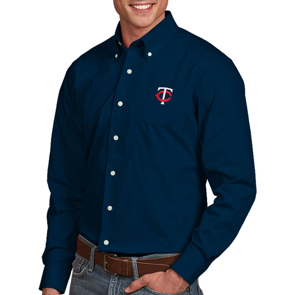 アンティグア Antigua メンズ シャツ トップス【Minnesota Twins Dynasty Button-Up Navy Long Sleeve Shirt】