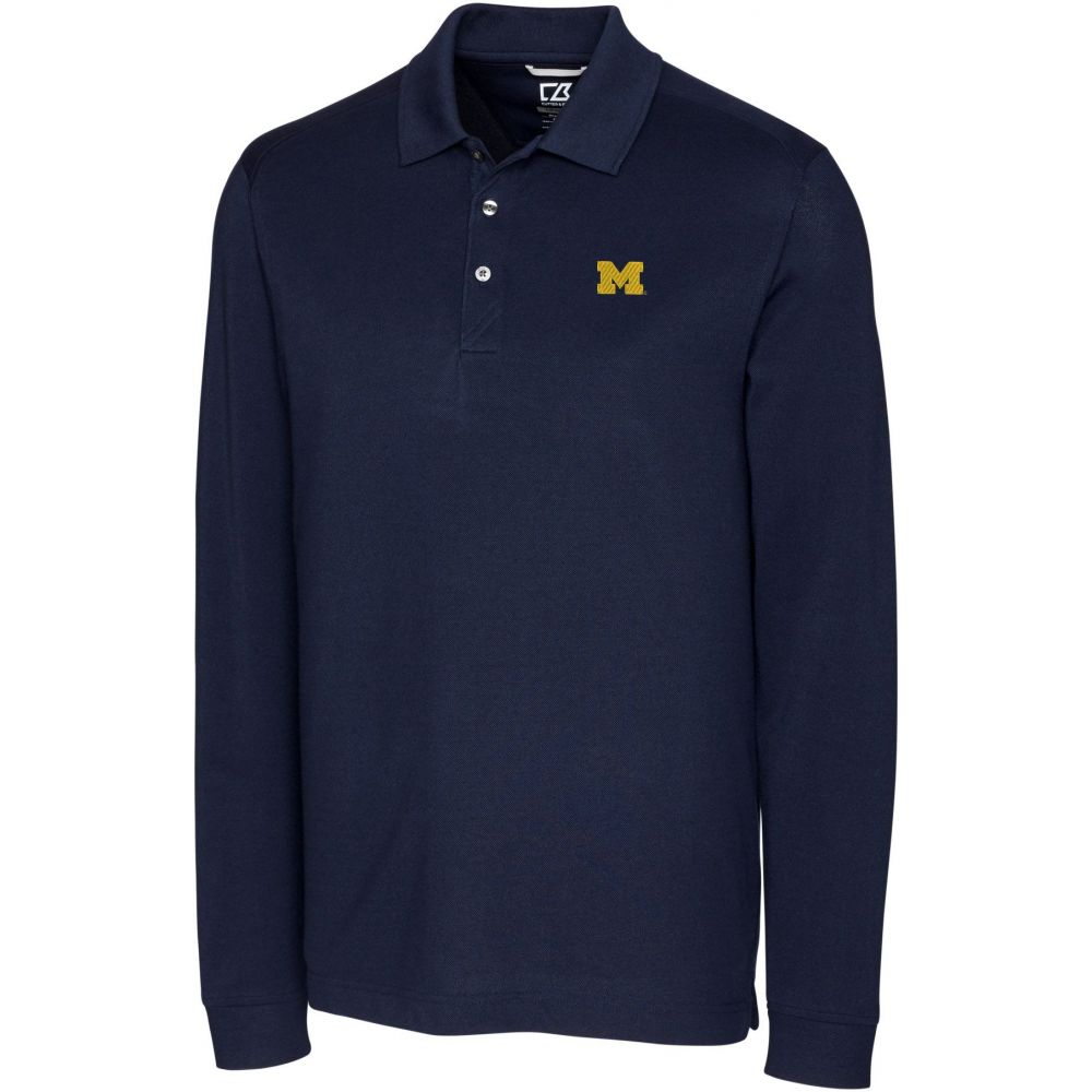 カッター&バック Cutter & Buck メンズ ポロシャツ トップス【Michigan Wolverines Blue Advantage Long Sleeve Polo】