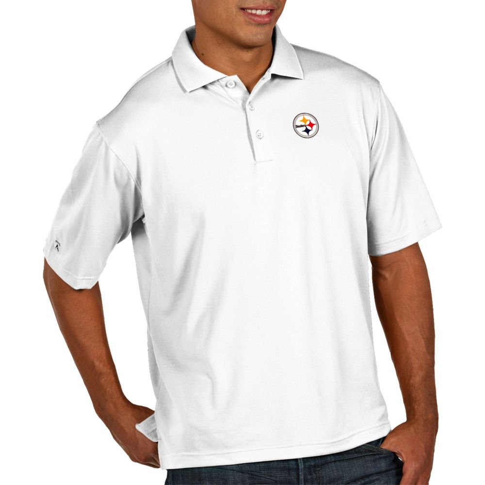アンティグア Antigua メンズ ポロシャツ トップス【Pittsburgh Steelers Pique Xtra-Lite Performance White Polo】